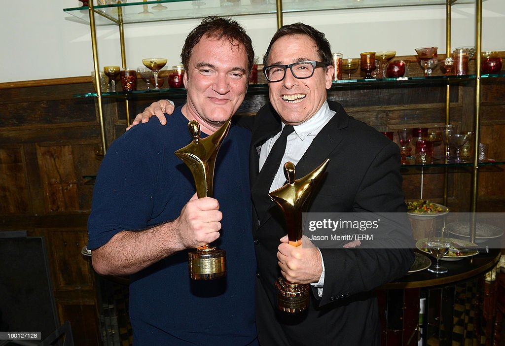 Directors <a gi-track='captionPersonalityLinkClicked' href=/galleries/search?phrase=Quentin+Tarantino&family=editorial&specificpeople=171796 ng-click='$event.stopPropagation()'>Quentin Tarantino</a> (L) and <a gi-track='captionPersonalityLinkClicked' href=/galleries/search?phrase=David+O.+Russell&family=editorial&specificpeople=215306 ng-click='$event.stopPropagation()'>David O. Russell</a> backstage during the Australian Academy of Cinema and Television Arts' 2nd AACTA International Awards at Soho House on January 26, 2013 in West Hollywood, California.