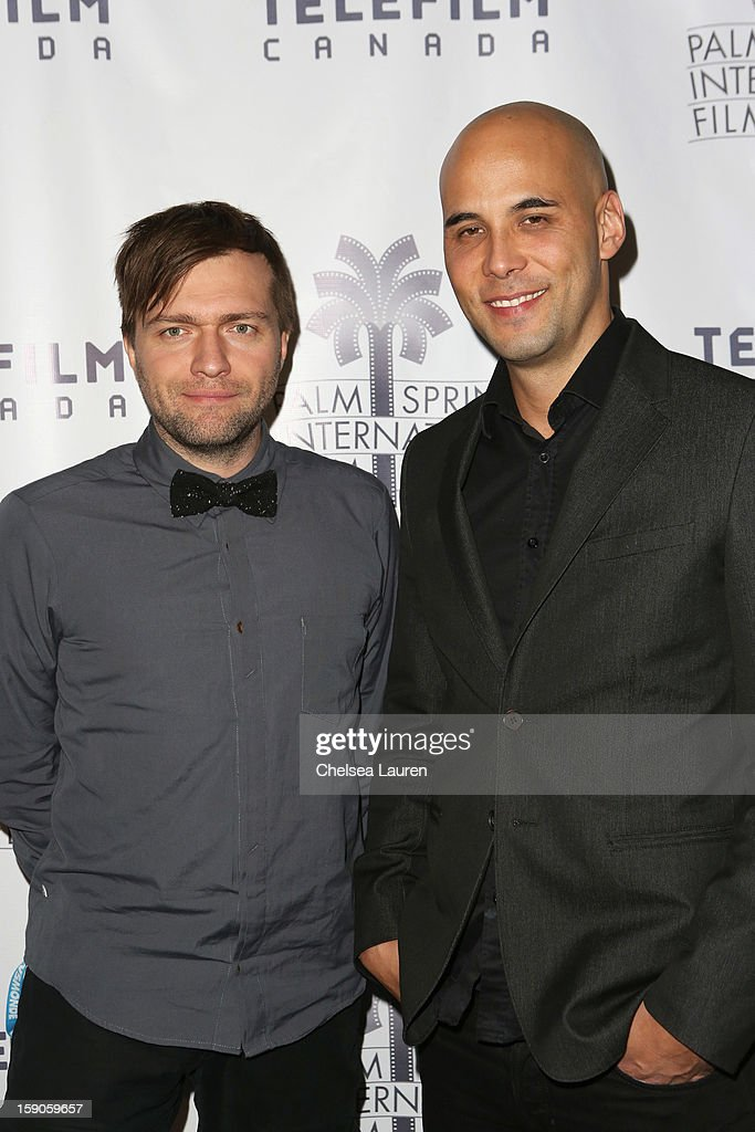 Directors Rafael Ouellet (L) and Ken Nguyen arrive at the Canadian film party at the 24th annual Palm Springs International Film Festival on January 6, 2013 in Palm Springs, California.