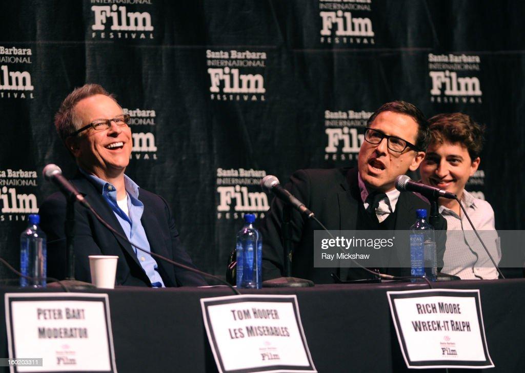 Directors Rich Moore, David O. Russell and Behn Zeitlin attend the 28th Santa Barbara International Film Festival Directors Panel on January 26, 2013 in Santa Barbara, California.