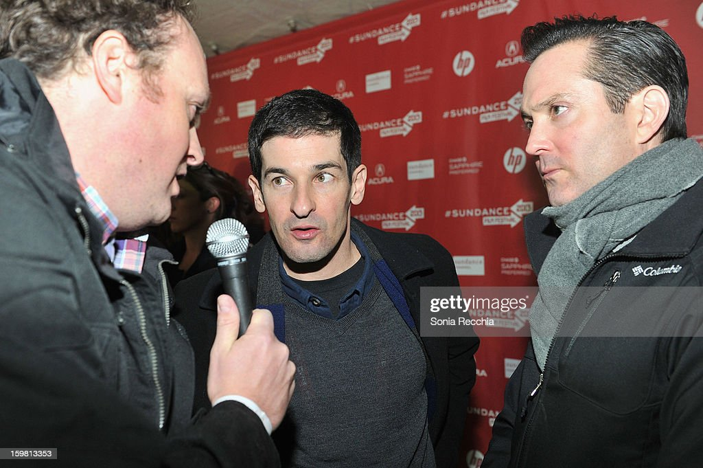 Directors Robert Ben Garant and Thomas Lennon interview at the 'Hell Baby' premiere at Library Center Theater during the 2013 Sundance Film Festival on January 20, 2013 in Park City, Utah.