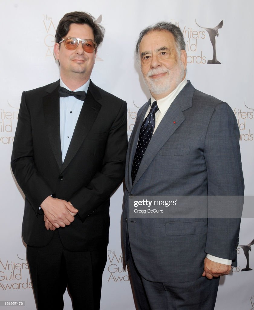 Directors <a gi-track='captionPersonalityLinkClicked' href=/galleries/search?phrase=Roman+Coppola&family=editorial&specificpeople=615097 ng-click='$event.stopPropagation()'>Roman Coppola</a> and dad <a gi-track='captionPersonalityLinkClicked' href=/galleries/search?phrase=Francis+Ford+Coppola&family=editorial&specificpeople=204241 ng-click='$event.stopPropagation()'>Francis Ford Coppola</a> arrive at the 2013 Writers Guild Awards at JW Marriott Los Angeles at L.A. LIVE on February 17, 2013 in Los Angeles, California.