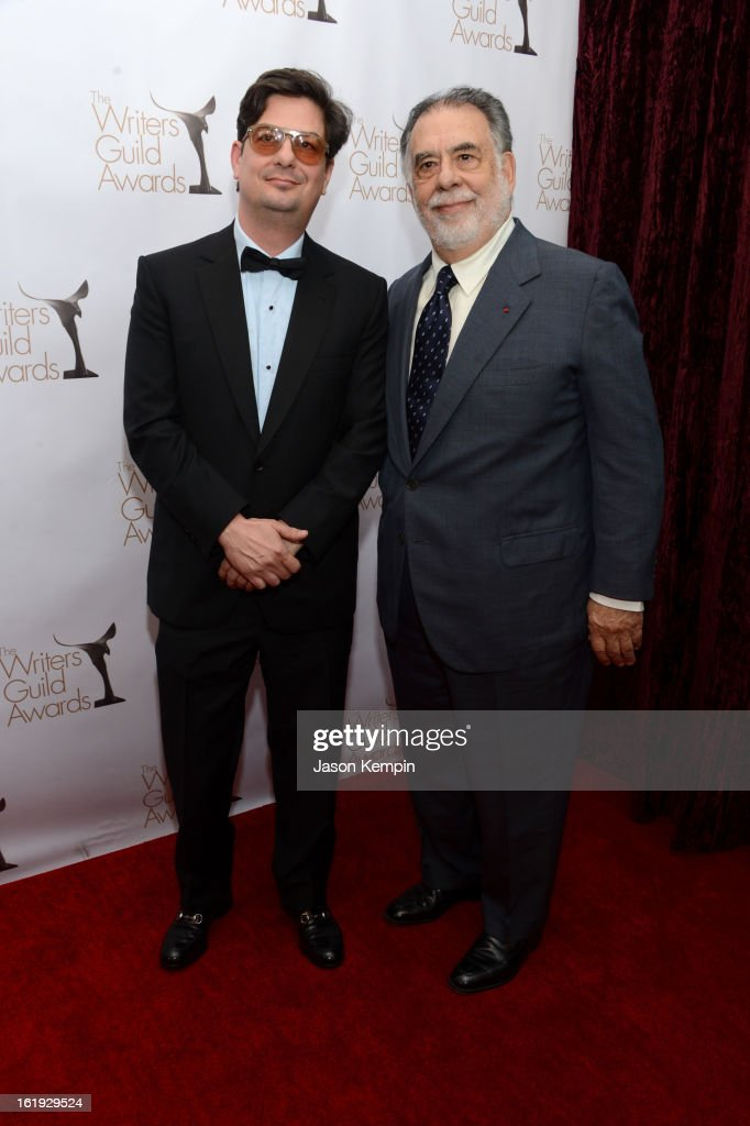 Directors Roman Coppola and Francis Ford Coppola arrive at the 2013 WGAw Writers Guild Awards at JW Marriott Los Angeles at L.A. LIVE on February 17, 2013 in Los Angeles, California.