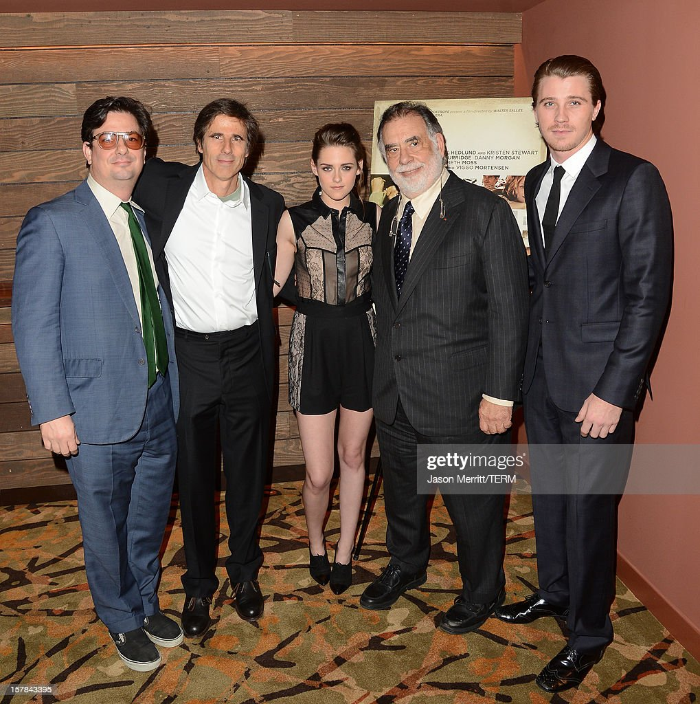Directors <a gi-track='captionPersonalityLinkClicked' href=/galleries/search?phrase=Roman+Coppola&family=editorial&specificpeople=615097 ng-click='$event.stopPropagation()'>Roman Coppola</a>, <a gi-track='captionPersonalityLinkClicked' href=/galleries/search?phrase=Walter+Salles&family=editorial&specificpeople=213053 ng-click='$event.stopPropagation()'>Walter Salles</a>, actress <a gi-track='captionPersonalityLinkClicked' href=/galleries/search?phrase=Kristen+Stewart&family=editorial&specificpeople=2166264 ng-click='$event.stopPropagation()'>Kristen Stewart</a>, Director <a gi-track='captionPersonalityLinkClicked' href=/galleries/search?phrase=Francis+Ford+Coppola&family=editorial&specificpeople=204241 ng-click='$event.stopPropagation()'>Francis Ford Coppola</a> and actor <a gi-track='captionPersonalityLinkClicked' href=/galleries/search?phrase=Garrett+Hedlund&family=editorial&specificpeople=2290407 ng-click='$event.stopPropagation()'>Garrett Hedlund</a> attend the private Los Angeles screening of 'On The Road' at Sundance Cinema on December 6, 2012 in Los Angeles, California.