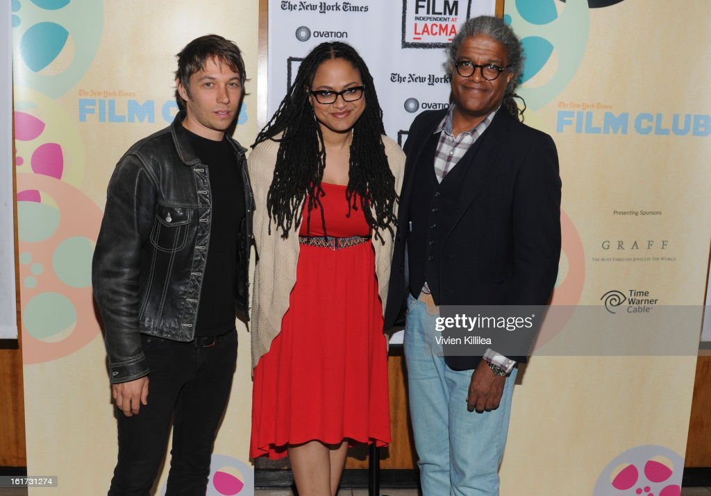 Directors Sean Baker and Ava DuVernay and film curator <a gi-track='captionPersonalityLinkClicked' href=/galleries/search?phrase=Elvis+Mitchell&family=editorial&specificpeople=567104 ng-click='$event.stopPropagation()'>Elvis Mitchell</a> attend Cassavetes' 'Shadow 2013' - Film Independent Spirit Awards Nominee Discussion And Free Screening Co-Presented By The New York Times Film Club at Bing Theatre At LACMA on February 14, 2013 in Los Angeles, California.