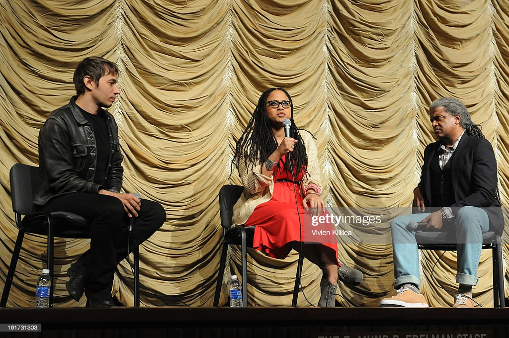 Directors Sean Baker and Ava DuVernay and film curator <a gi-track='captionPersonalityLinkClicked' href=/galleries/search?phrase=Elvis+Mitchell&family=editorial&specificpeople=567104 ng-click='$event.stopPropagation()'>Elvis Mitchell</a> speak at Cassavetes' 'Shadow 2013' - Film Independent Spirit Awards Nominee Discussion And Free Screening Co-Presented By The New York Times Film Club at Bing Theatre At LACMA on February 14, 2013 in Los Angeles, California.
