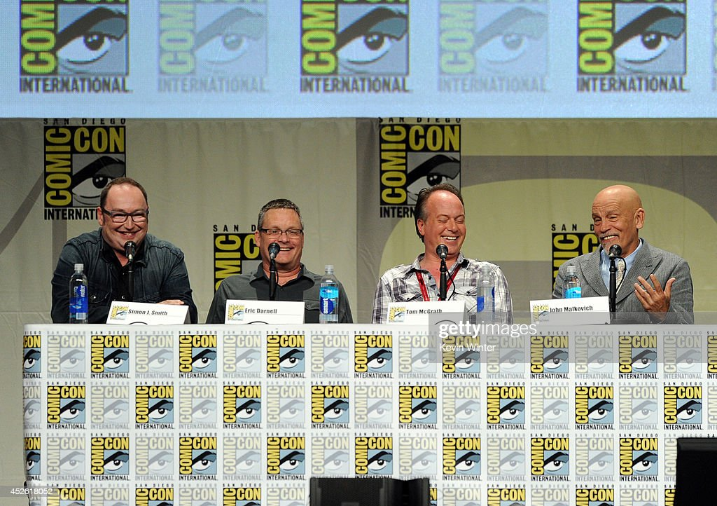 Directors Simon J. Smith and Eric Darnell, writer Tom McGrath, and actor John Malkovich attend the DreamWorks Animation presentation during Comic-Con International 2014 at the San Diego Convention Center on July 24, 2014 in San Diego, California.