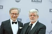 Directors Steven Spielberg and George Lucas attend the 44th AFI Life Achievement Awards Gala Tribute to John Williams at Dolby Theatre on June 9 2016...