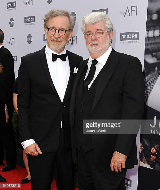 Directors Steven Spielberg and George Lucas attend the 44th AFI Life Achievement Awards gala tribute at Dolby Theatre on June 9 2016 in Hollywood...