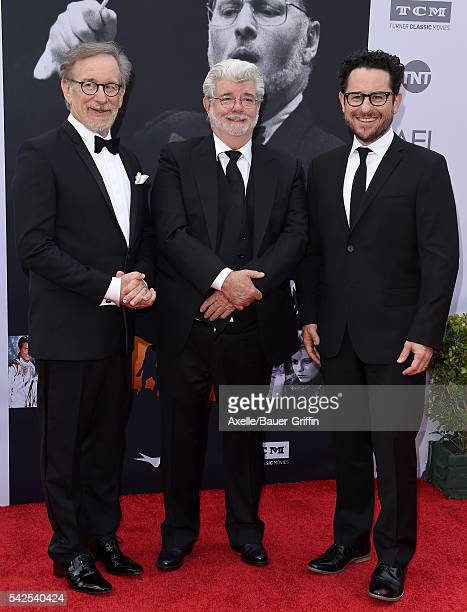 Directors Steven Spielberg George Lucas and JJ Abrams arrive at the 44th AFI Life Achievement Awards Gala Tribute to John Williams at Dolby Theatre...