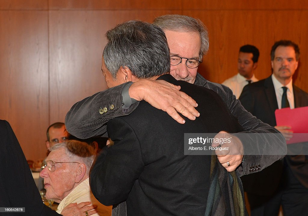 Directors <a gi-track='captionPersonalityLinkClicked' href=/galleries/search?phrase=Steven+Spielberg&family=editorial&specificpeople=202022 ng-click='$event.stopPropagation()'>Steven Spielberg</a> hugs <a gi-track='captionPersonalityLinkClicked' href=/galleries/search?phrase=Ang+Lee&family=editorial&specificpeople=215104 ng-click='$event.stopPropagation()'>Ang Lee</a> at the 65th Annual Directors Guild of America Awards President's Breakfast held at the DGA on February 2, 2013 in Los Angeles, California.