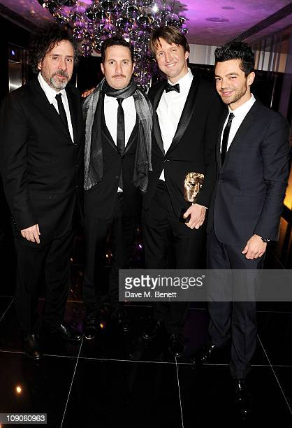 Directors Tim Burton Darren Aronofsky Tom Hooper and actor Dominic Cooper celebrate at The Weinstein Company and Momentum Pictures' postBAFTA party...
