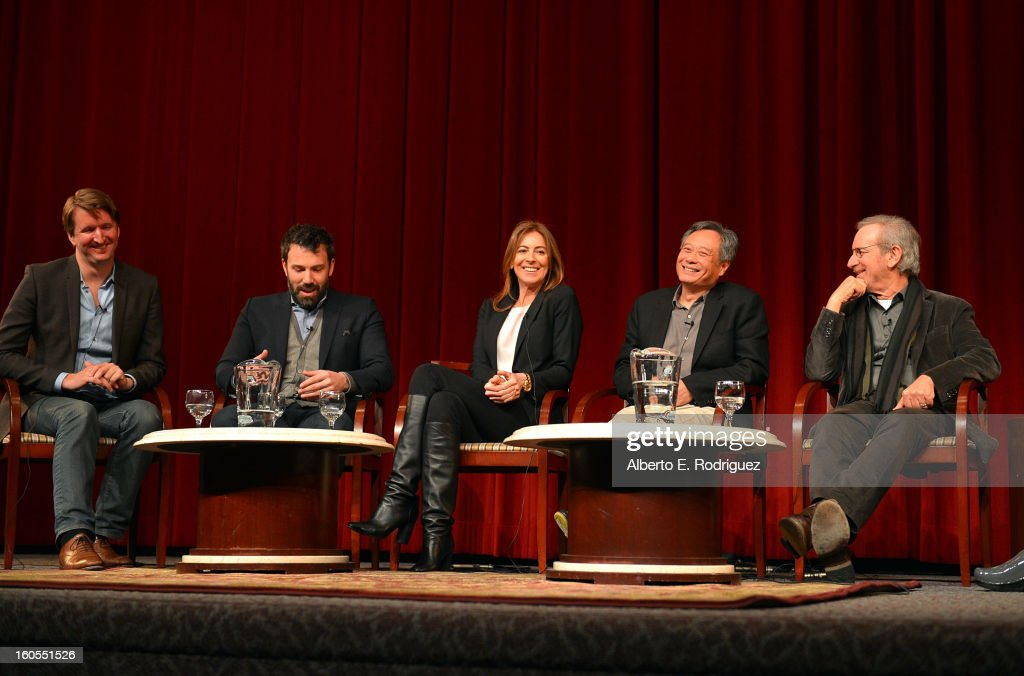 Directors Tom Hooper, Ben Affleck, Kathryn Bigelow, Ang Lee and Steven Spielberg speak onstage at the 65th Annual Directors Guild of America Awards Feature Film Symposium held at the DGA on February 2, 2013 in Los Angeles, California.