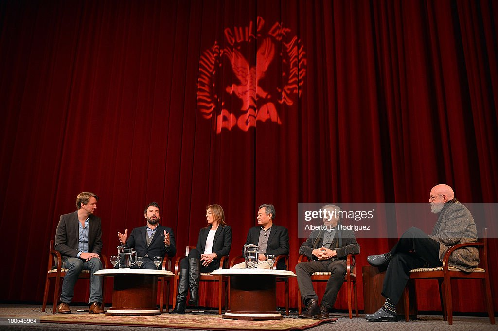 Directors Tom Hooper, Ben Affleck, Kathryn Bigelow, Ang Lee, Steven Spielberg and panel moderator Director Jeremy Kagan speak onstage at the 65th Annual Directors Guild of America Awards Feature Film Symposium held at the DGA on February 2, 2013 in Los Angeles, California.