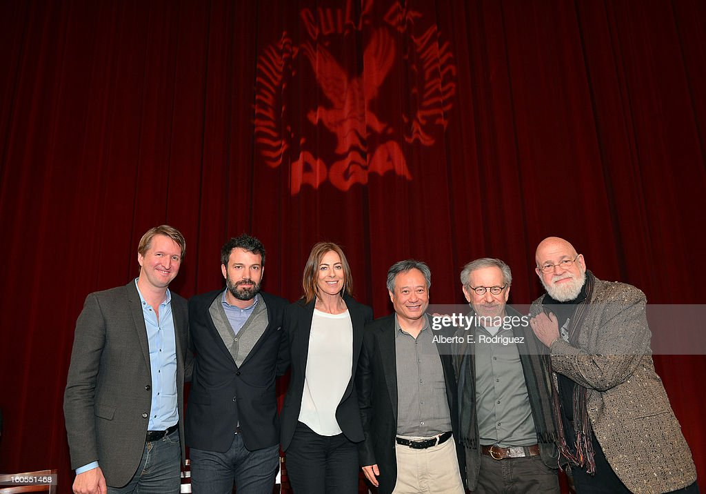 Directors Tom Hooper, Ben Affleck, Kathryn Bigelow, Ang Lee, Steven Spielberg and panel moderator/director Jeremy Kagan pose onstage at the 65th Annual Directors Guild of America Awards Feature Film Symposium held at the DGA on February 2, 2013 in Los Angeles, California.