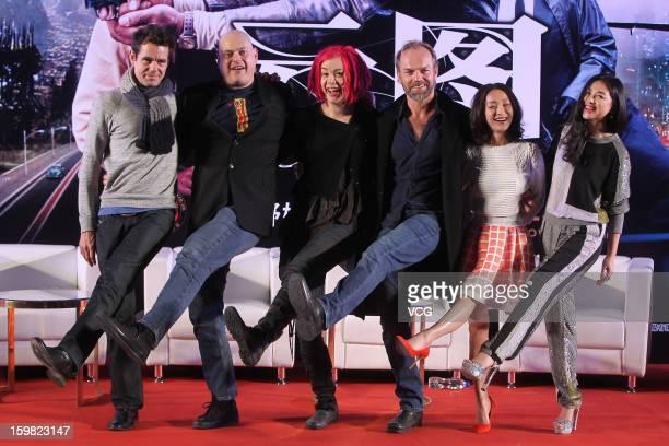 Directors Tom Tykwer Andy Wachowski Lana Wachowski actor Hugo Weaving actress Zhou Xun and actress Zhu Zhu attend 'Cloud Atlas' press conference on...