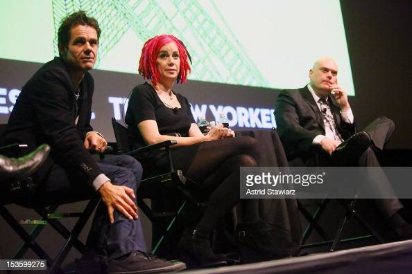 Directors Tom Tykwer Lana Wachowski and Andy Wachowski speak at a panel discussion with Aleksander Hemon following the 'Cloud Atlas' US premiere at...