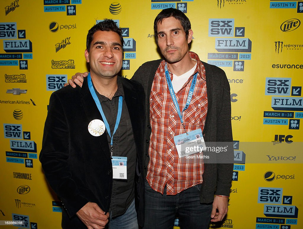 Directors Youssef Delara and Victor Teran pose in the greenroom at the screening of 'Snap' during the 2013 SXSW Music, Film + Interactive Festival at Alamo Ritz on March 11, 2013 in Austin, Texas.