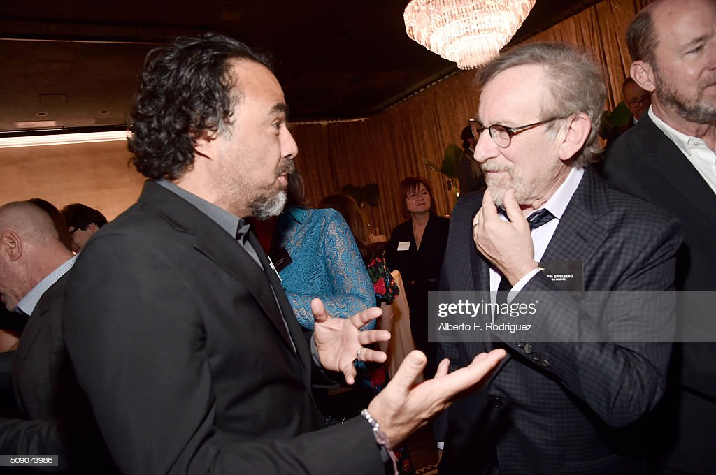 Director/screenwriter Alejandro Gonzalez Inarritu (L) and director/producer Steven Spielberg attend the 88th Annual Academy Awards nominee luncheon on February 8, 2016 in Beverly Hills, California.