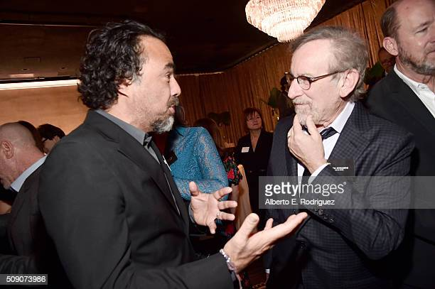 Director/screenwriter Alejandro Gonzalez Inarritu and director/producer Steven Spielberg attend the 88th Annual Academy Awards nominee luncheon on...