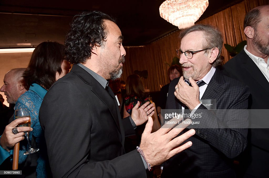 Director/screenwriter Alejandro Gonzalez Inarritu (L) and director/producer <a gi-track='captionPersonalityLinkClicked' href=/galleries/search?phrase=Steven+Spielberg&family=editorial&specificpeople=202022 ng-click='$event.stopPropagation()'>Steven Spielberg</a> attend the 88th Annual Academy Awards nominee luncheon on February 8, 2016 in Beverly Hills, California.