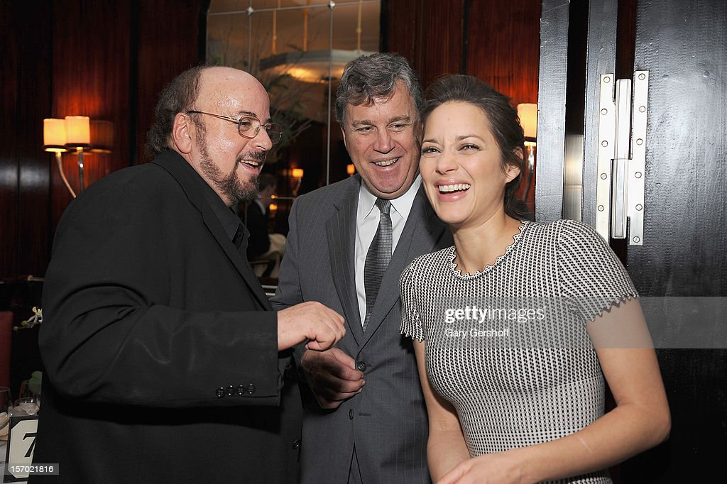 Director/screenwriter James Toback, Sony Pictures Classics co-president Tom Bernard and actress Marion Cotillard attend the 'Rust And Bone' Luncheon at Brasserie Ruhlmann on November 27, 2012 in New York City.