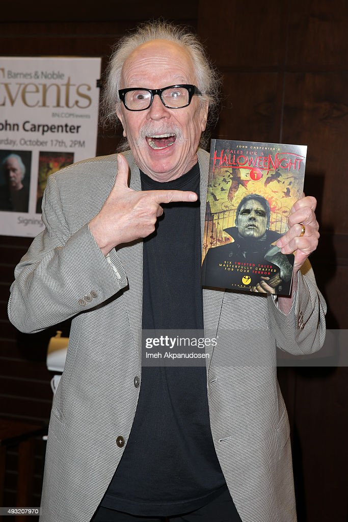 Director/screenwriter <a gi-track='captionPersonalityLinkClicked' href=/galleries/search?phrase=John+Carpenter&family=editorial&specificpeople=1243793 ng-click='$event.stopPropagation()'>John Carpenter</a> signs copies of his new book, '<a gi-track='captionPersonalityLinkClicked' href=/galleries/search?phrase=John+Carpenter&family=editorial&specificpeople=1243793 ng-click='$event.stopPropagation()'>John Carpenter</a>'s Tale For A Halloween Night' at Barnes & Noble at The Grove on October 17, 2015 in Los Angeles, California.