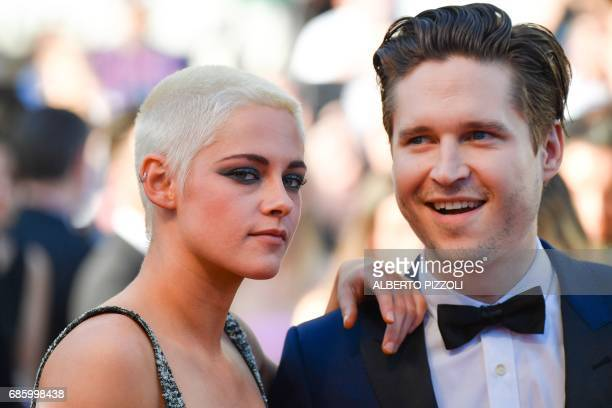 Director/Screenwriter Kristen Stewart poses with actor Josh Kaye as they arrive on May 20 2017 for the screening of the film '120 Beats Per Minute '...
