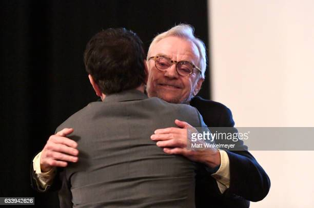 Director/subject John G Avildsen and actor/subject Ralph Macchio onstage at a screening of 'John G Avildsen King of the Underdogs' during the 32nd...