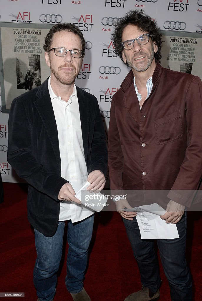 Directors/writers/producers <a gi-track='captionPersonalityLinkClicked' href=/galleries/search?phrase=Ethan+Coen&family=editorial&specificpeople=1130888 ng-click='$event.stopPropagation()'>Ethan Coen</a> (L) and <a gi-track='captionPersonalityLinkClicked' href=/galleries/search?phrase=Joel+Coen&family=editorial&specificpeople=4292064 ng-click='$event.stopPropagation()'>Joel Coen</a> attend the AFI Premiere Screening of 'Inside Llewyn Davis' at TCL Chinese Theatre on November 14, 2013 in Hollywood, California.
