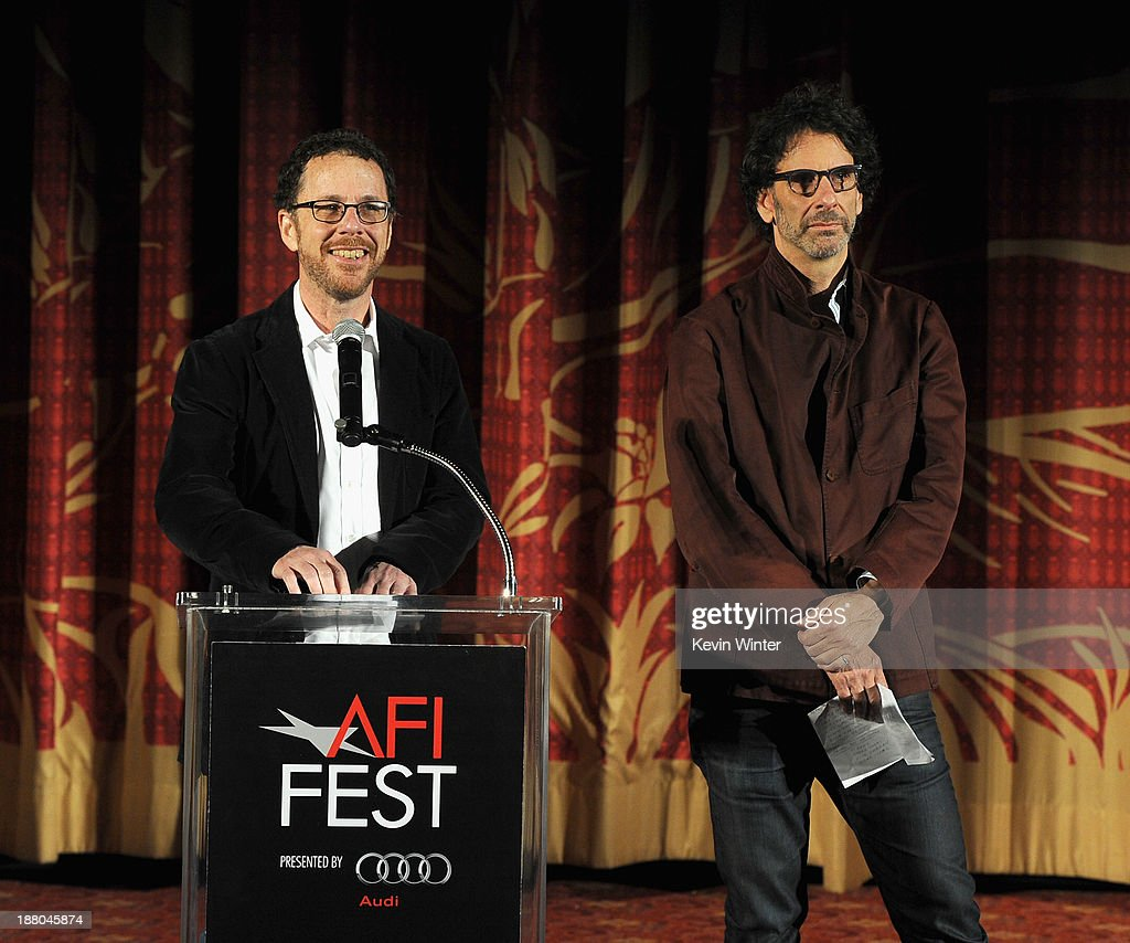 Directors/writers/producers <a gi-track='captionPersonalityLinkClicked' href=/galleries/search?phrase=Ethan+Coen&family=editorial&specificpeople=1130888 ng-click='$event.stopPropagation()'>Ethan Coen</a> (L) and <a gi-track='captionPersonalityLinkClicked' href=/galleries/search?phrase=Joel+Coen&family=editorial&specificpeople=4292064 ng-click='$event.stopPropagation()'>Joel Coen</a> speak onstage during the AFI Premiere Screening of 'Inside Llewyn Davis' at TCL Chinese Theatre on November 14, 2013 in Hollywood, California.
