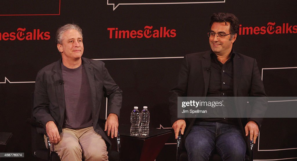 Director/tv personality Jon Stewart and journalist Maziar Bahari attends the TimesTalks with Jon Stewart and Maziar Bahari at TheTimesCenter on November 10, 2014 in New York City.