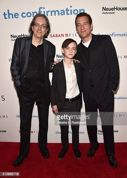 Director/writer Bob Nelson actors Jaeden Lieberher and Clive Owen attend the premiere of Saban Films' 'The Confirmation' on March 15 2016 in Los...