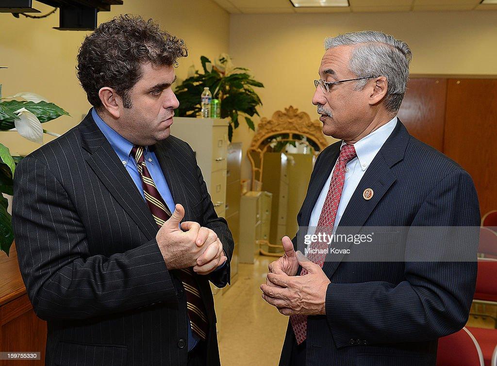Director/writer Eugene Jarecki (L) and Congressman Robert C. 'Bobby' Scott (D-VA) attend 'The House I Live In' Washington DC screening at Shiloh Baptist Church on January 19, 2013 in Washington, DC.