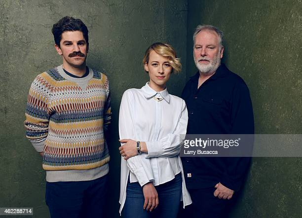 Director/writer Evan Johnson actress Karine Vanasse and director/writer Guy Maddin of 'The Forbidden Room' pose for a portrait at the Village at the...