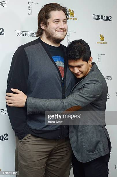Director/writer Gareth Evans and actor/martial artist Iko Uwais arrive at Sony Pictures Classic 'The Raid 2' Los Angeles premiere at Harmony Gold...