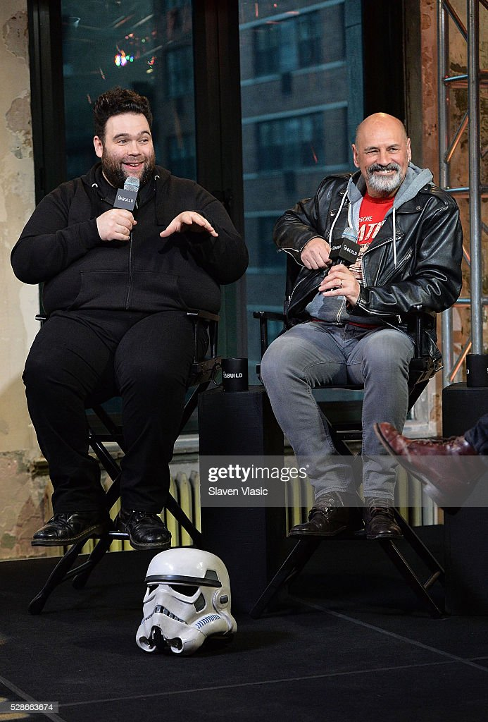 Director/Writer Jon Spira (L) and actor Anthony Forrest discuss their new film 'Elstree 1976' at AOL Studios In New York on May 6, 2016 in New York City.