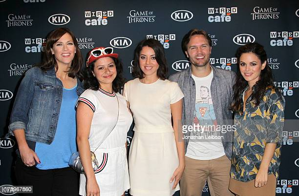 Director/writer Maggie Carey and actors Alia Shawkat Aubrey Plaza Scott Porter and Rachel Bilson attend day 1 of the WIRED Cafe at ComicCon on July...