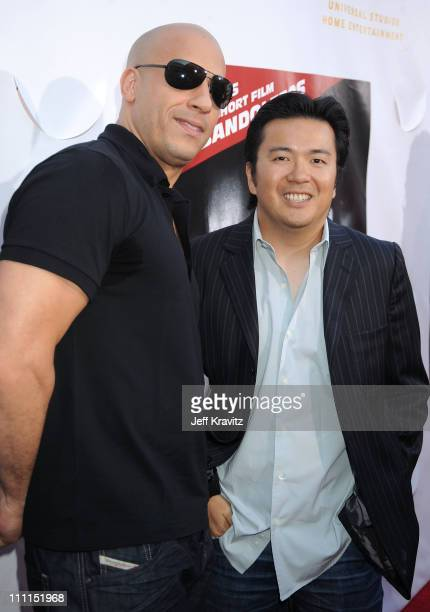 Director/writer of ' Los Bandoleros' Vin Diesel and director of 'Fast Furious' Justin Lin attend Universal Studios Home Entertainment's DVD release...