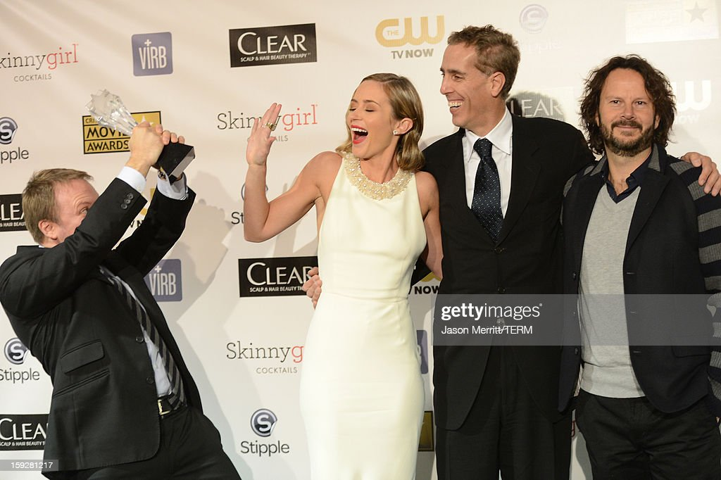 Director/writer Rian Johnson; actress Emily Blunt; producer Peter Schlessel; and producer Ram Bergman of Best Sci-Fi/Horror Movie award-winning film 'Looper' pose in the press room at the 18th Annual Critics' Choice Movie Awards held at Barker Hangar on January 10, 2013 in Santa Monica, California.