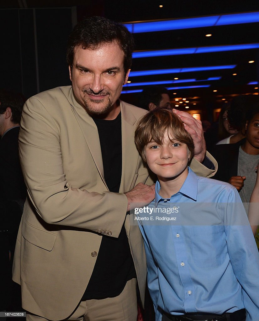 Director/writer <a gi-track='captionPersonalityLinkClicked' href=/galleries/search?phrase=Shane+Black&family=editorial&specificpeople=810591 ng-click='$event.stopPropagation()'>Shane Black</a> and actor Ty Simpkins attend Marvel's Iron Man 3 Premiere after party at Hard Rock Cafe on April 24, 2013 in Hollywood, California.