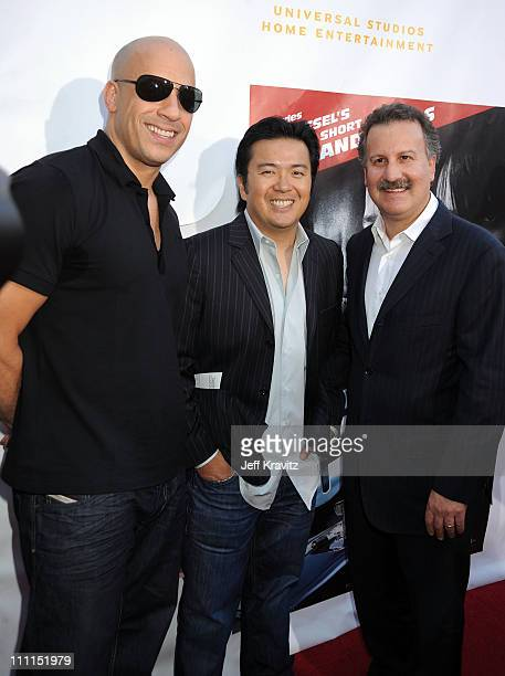 Director/writer Vin Diesel director of 'Fast Furious' Justin Lin and President of Universal Studios Home Entertainment Craig Kornblau attend...