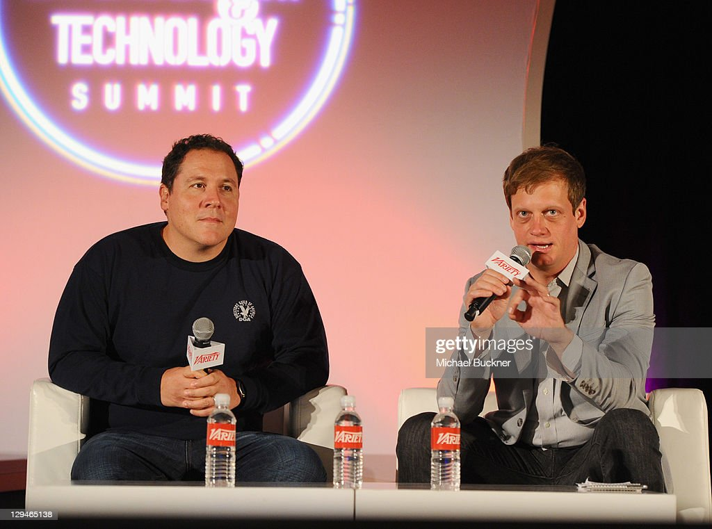 Director/writer/actor Jon Favreau and film editor at Variety Josh Dickey speak at Variety's 2011 Entertainment And Technology Summit at Ritz Carlton Hotel on October 17, 2011 in Marina del Rey, California.