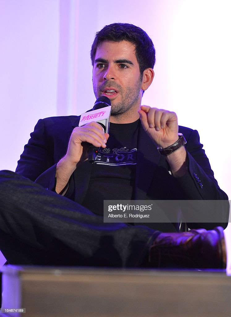 Director-Writer-Producer, <a gi-track='captionPersonalityLinkClicked' href=/galleries/search?phrase=Eli+Roth&family=editorial&specificpeople=543948 ng-click='$event.stopPropagation()'>Eli Roth</a> speaks onstage during a Keynote Conversation with Director-Writer-Producer, <a gi-track='captionPersonalityLinkClicked' href=/galleries/search?phrase=Eli+Roth&family=editorial&specificpeople=543948 ng-click='$event.stopPropagation()'>Eli Roth</a> at Variety's 2012 Film Marketing Summit in Association with Stradella Road at InterContinental Hotel on October 24, 2012 in Century City, California.