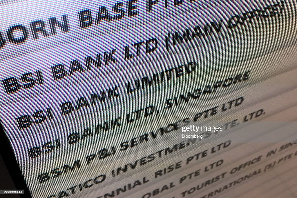 A directory for Tower One of Suntec City, which houses the headquarters of BSI Bank Ltd., is displayed in Singapore on Tuesday, May 24, 2016. Singapore ordered BSI's unit in the city-state to shut down as Swiss authorities began criminal proceedings against the bank, the biggest fallout suffered by a financial institution to date from global probes related to a troubled Malaysian state fund. Photographer: Nicky Loh/Bloomberg via Getty Images