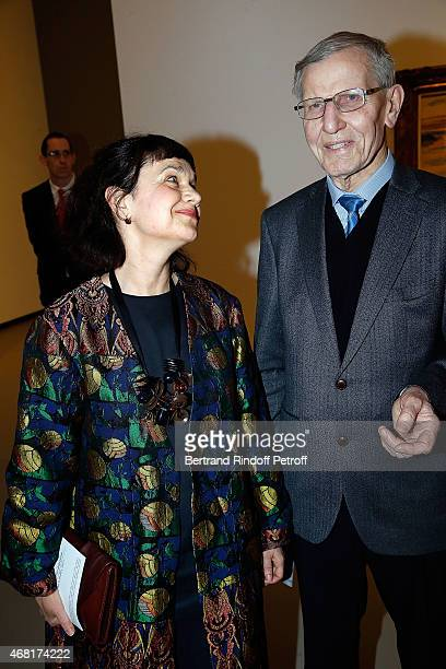 Directrice Musee Pouchkine Marina Lochak and Guest attend 'Les Clefs d'Une Passion' Exhibition Preview Diner at Fondation Louis Vuitton on March 29...