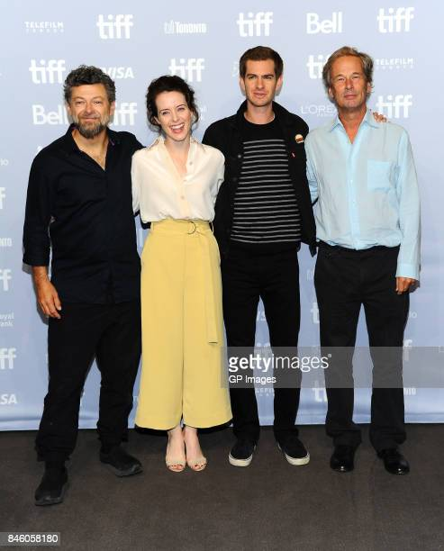 Direrctor Andy Serkis actors Claire Foy Andrew Garfield and producer Jonathan Cavendish attend 'Breathe' press conference during 2017 Toronto...