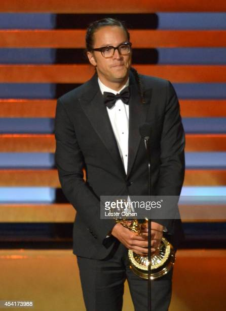 Diretor Cary Fukunaga speaks onstage at the 66th Annual Primetime Emmy Awards held at Nokia Theatre LA Live on August 25 2014 in Los Angeles...