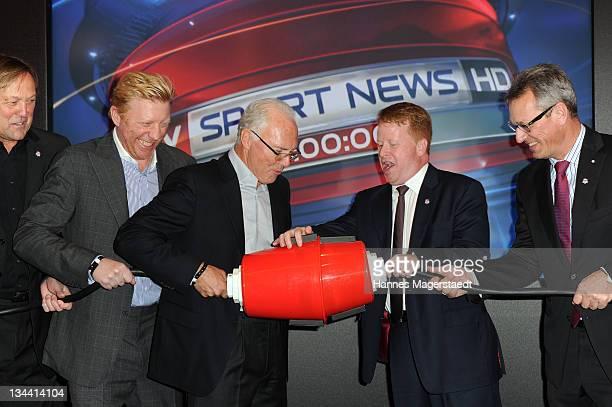 Dirk Bauermann Erich Kuehnhackl Boris Becker Franz Beckenbauer Brian Sullivan Siegfried Schneider and Carsten Schmidt attend the Sky Sports News HD...