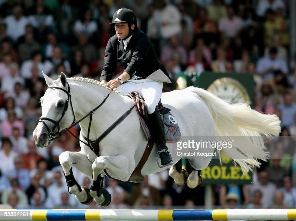 Dirk Demeersman of Belgium jumps on Clinton and got the second place in th discipline of show jump of the S16 Great Pirce of Aachen during the CHIO...