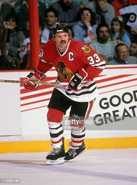 Dirk Graham of the Chicago Blackhawks skates on the ice during an NHL game against the Philadelphia Flyers circa 1990 at the Spectrum in Philadelphia...